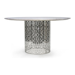 "Jonathan Adler - Jonathan Adler Nixon Marble & Nickel Dining Table - Fresh yet familiar, the Jonathan Adler Nixon design nods to mid-century style with an eye to the future. A perforated pattern forms the metal base of this nickel dining table topped with white marble for a sleek, modern look. 51"" Dia x 30""H; Marble round top; Polished nickel base; Seats 6; Scaled for dining table or entry table. Assembly required"