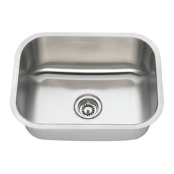 "MR Direct - Single Bowl Stainless Steel Kitchen Sink - The 2318 undermount sink has a single bowl made from 304 grade stainless steel and is available in your choice of 18 or 16 gauge thicknesses. The surface has a brushed satin finish to help mask small scratches that occur over time and keep your sink looking beautiful for years. The overall dimensions of the 2318 are  and a 24"" minimum cabinet size is required. This sink contains a 3 1/2"" center drain, is fully insulated and comes with sound dampening pads. As always, our stainless steel sinks are covered under a limited lifetime warranty for as long as you own the sink."