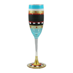 Golden Hll Studio - Mosaic Chalk Champagne Glass - It's that old black magic. A hand-painted champagne glass is one thing, but when you add a dramatic swatch of black behind it all, it's magical. Your new flutes will only add to the intoxication power of your bubbly.