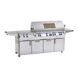 Fire Magic - Echelon E1060s-4E1N-71W Digital Standing NG Cabinet Window Grill - E1060 Stand Alone with Rotisserie Backburner, Double Side Burner & Magic View Window