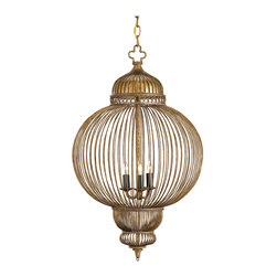 Kathy Kuo Home - Claydon Antique Gold Moroccan Style 3 Light Lantern Pendant - The Claydon Chandelier is carefully crafted of wrought iron that is finished with a pleasing mixture of Antique Gold and Black. The round orb is embellished with a dome on top and inverted domes at the bottom. It fits well into an elegant setting as well as a less formal one.