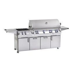 Fire Magic Echelon Diamond E1060s Cabinet Grill with Power Burner - The product specialists at Hayneedle have been extensively trained by the manufacturer of Fire Magic grills. These specialists know the product inside and out, top to bottom, front to back. They're here to help you with every step of your Fire Magic grill purchasing process. Learn everything you need to know as you customize your grill island with drawers, doors, pizza ovens and more! Call 866-579-5183 to speak with a product specialist and start building your dream grill island today. Hours: Monday-Friday 9 a.m.-7 p.m. E.T.No sissy sideburners here - the Fire Magic Echelon Diamond E1060s Stand Alone Grill with Power Burner pairing the peerless Echelon Diamond 1060s grill head with a incredible cart with a built-in 60,000 BTU Power Burner for a state-of-the-art luxury outdoor cooking experience. The main grill's large 1,056-square-inch cooking surface is powered by four stainless steel E-shaped burners that distribute more BTUs per square inch - more evenly - than any other burner on the market. Supported below with stainless steel flavor grids and heat zone separators that allow true custom cooking, a full stainless steel grid makes perfect sear marks on all your food. Dual recessed rotisserie burners sit in the back of the grill body, independently controlled for a slow-cook or a quick sear. To take advantage, skewer your favorite meats on the ball-bearing supported rotisserie spit rod with a high-torque motor and counterbalance. There's also a dedicated 3,000 BTU smoker box burner - just add wine, water, wood chips, and more for a bold infusion of flavor. It's not all about brute toughness here, though - there are sophisticated electronics at work, too. LED backlit safety knobs, an advanced hot surface push-button ignition, halogen lamps, and an analog thermometer are all built in.Grill FeaturesExclusive cast stainless steel E-shaped main burners - a shape that allows for total control and true c