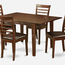 """East West Furniture - Milan 5Pc Set with Rectangular Dining Table and 4 Milan Wood Seat Chairs - Milan 5Pc Set with Rectangular Table Featured 12 In Butterfly Leaf and 4 Wood Seat Chairs; Rectangular dining table is designed in contemporary style with clean angles and sleek lines.; Table and chairs are crafted of fine Asian solid wood for quality and longevity.; Chairs are available with either wooden seats or upholstered seats to suit preference and desired motif.; Table features a standard butterfly leaf for convenient extension.; Ladder back chair style is sturdy, durable, and is ideal for classic decor in any kitchen or dining room.; Dinette sets are available in either rich Mahogany or exquisite Saddle Brown finish.; Weight: 145 lbs; Dimensions: Table: 42 - 54""""L x 36""""W x 29.5""""H; Chair: 18""""L x 17.5""""W x 38""""H""""H"""
