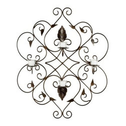 Ivy and Leaf Wrought Iron Candle Wall Sconce - 32.3H in. - The leafy, scrolling design of the Ivy and Leaf Wrought Iron Candle Wall Sconce – 32.3H in. adds a touch of Old World elegance to any space. With four included little glass cups perfect for tea light candles, this piece adds a little flicker of romance to the evening hours. This wrought iron sconce is easy to hang, and provides long-lasting durability.