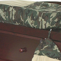 """Sweet Jojo Designs - Green Camouflage Changing Pad Cover - The Green Camouflage changing pad cover will help complete the look of your Sweet Jojo Designs nursery. This changing pad cover can be used with standard or contoured changing pads up to 17"""" x 31"""". It also has elastic edges for a tailored, snug fit."""