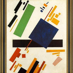 """Art MegaMart - Kazimir Malevich Suprematic Painting - 16"""" x 20"""" Framed Premium Canvas Print - 16"""" x 20"""" Kazimir Malevich Suprematic Painting framed premium canvas print reproduced to meet museum quality standards. Our Museum quality canvas prints are produced using high-precision print technology for a more accurate reproduction printed on high quality canvas with fade-resistant, archival inks. Our progressive business model allows us to offer works of art to you at the best wholesale pricing, significantly less than art gallery prices, affordable to all. This artwork is hand stretched onto wooden stretcher bars, then mounted into our 3 3/4"""" wide gold finish frame with black panel by one of our expert framers. Our framed canvas print comes with hardware, ready to hang on your wall.  We present a comprehensive collection of exceptional canvas art reproductions by  Kazimir Malevich ."""