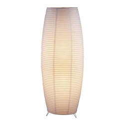 "Lamps Plus - Asian Collapsible Bamboo Rice Paper Lantern Floor Lamp - Featuring a two-layered white rice paper shade over bamboo ribs this distinctive floor lamp creates a soft diffused light that will glow beautifully in any room. Chrome finish feet. Rice paper shade. Bamboo-ribbed. Takes two 75 watt bulbs (not included). Foot step switch. 51"" high. 20"" wide.  Chrome finish feet.   Rice paper shade.   Bamboo-ribbed.   Takes two 75 watt bulbs (not included).   Foot step switch.   51"" high.   20"" wide."