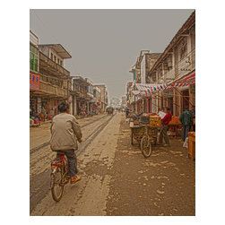 China - Lazy Afternoon Bike Ride, Limited Edition, Photograph - I thought this color photograph of the guy on his bike riding through the market on a lazy afternoon was perfect, because of the old Southern China city feel. The guy riding the bicycle looked very happy and peaceful as he strolled through the village market. Along the side of the street are interesting shops that sell all kinds of interesting things.  This limited edition print is signed on the back, unless you specify you want me to sign on the front, and comes with a certificate of authenticity.  Custom printed on Canson Infinity 2273 Baryta Photographique Inkjet Paper. In my opinion, the highest professional fine art paper you can buy, with a very heavy fiber count, and wonderful full range of gray scale and color tones.   Fine art print only No frame
