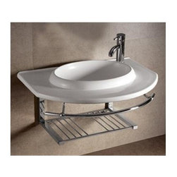 Whitehaus - Isabella Large Sink - Includes chrome shelf, towel bar and mounting hardware. Faucet not included. Wall mounted. Integrated oval bowl. Centre drain. Single hole faucet drilling on left side. Made from porcelain. White color. Inside: 21.25 in. W x 15 in. D x 4.75 in. H. Overall: 35.75 in. W x 25.12 in. D x 5.75 in. H (55 lbs.). Warranty