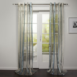 None - Evian Collection Sheer Stripe Grommet Curtain Panel - This lovely curtain panel will created a more sophisticated and elegant style accent in practically any home. Featuring a sheer construction,this curtain panel will let in just the right amount of sunlight.