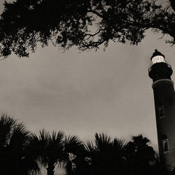 The Andy Moine Company LLC - Ponce De Leon Inlet Lighthouse Florida Fine Art Black and White Photography, 16x - Black and White Fine Art Photography captured with 35MM Ilford Film and reproduced in Limited Editions on Canvas OR Brushed Aluminum. This is a beautiful Night composition of the historic Ponce De Leon Lighthouse along the Florida Atlantic Coast.