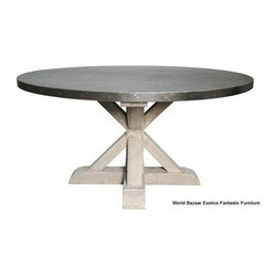 Kitchen Table: Vintage Hammered Zinc Top- Austin - This table has a great blend between modern and rustic with its zinc top and wooden base. It would fit perfectly in country cottage home or a modern one. To see more angles of this table go to Red Chair Market.