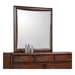 Coaster - Coaster Hillary and Scottsdale Mirror in Warm Brown Finish - Coaster - Mirrors - 200644 - About This Product: This beautiful dresser mirror will add a sophisticated look to your contemporary master bedroom. The smooth wood frame has a soft curved look around the sleek square mirror glass. Add depth and light to your room with this mirror available in deep Cappuccino or Warm Brown to suit your taste. About the Hillary and Scottsdale Collection: