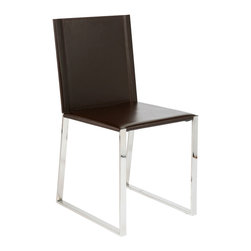 Euro Style - Cora Side Chair (Set Of 2) - Dark Brown/Chrome - For business people who know all the angles this is your chair. With a strict attention to sharp angles and super style.