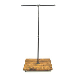 Edna Faye Creations - Urban Industrial Black Plumbing Pipe Tee Bar Garment Rack - This mini garment rack is built from iron piping and reclaimed wood. It will add a touch of class to a loft, office, rustic style home decor, and an industrial space.