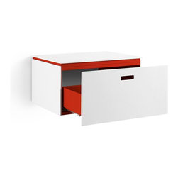 WS Bath Collections - Ciacole Red Cabinet With Drawer - Ciacole 8061 Base Cabinet with One Drawer in Red Painted Aluminum and White Mattstone, Base Cabinet with One Drawer Designed for Use With a Vessel (Countertop) Bathroom Sink In Red Painted Aluminum and White Mattstone, Wall-Mounted Installation, Made in Italy