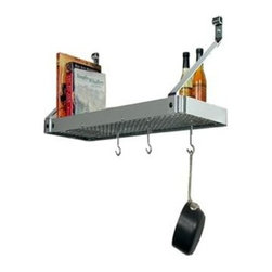 "Enclume - Enclume Premier Deep Wall Pot Rack - Stainless Steel - Dimensions: 36""L x 13""D x 17""H. Mounts on 32"" Centers or with Toggle Bolts (included) if studs are not available at desired mounting locationIncludes:    Grid Shelf    12 Angled Hooks (PHA)    Hardware necessary for assembly and installation. 5-years manufacturer warranty."