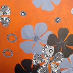 """""""Mod Poppies"""" (Original) By Devika Keskar - Poppies Are One Of My Favorite Subjects To Paint And This Time I Wanted To Do Something Different With Them So I Created This Very Modern Piece In Grey, Black And Rust Colors And Have Used A Lovely Black And Ivory Patterned Paper To Give This Piece Some Extra Appeal!"""