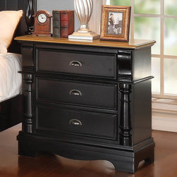 "Coaster - Oleta Night Stand - Create a beautiful focal point for your master bedroom with the stunning Oleta bedroom collection. The arched shutter headboard with simple molding and low-profile footboard adds to the classic country cottage style. Matching pieces come in a rich black finish with attractive oak tops. Enjoy a calm and tranquil setting while you relax in bed with a morning cup of coffee with help from the Oleta collection. Collection: Oleta; Style: Country; Finish/Color: Black/Oak Finish; Felt lined top drawer; Dove tail drawers; Full extension glides; Dimensions: 31.50""L x 17.75""W x 31.75""H"