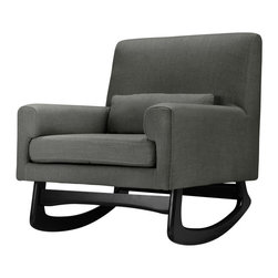 Nursery Works - Nursery Works Charcoal Sleepytime Rocker Multicolor - 1085RO - Shop for Childrens Rocking Chairs from Hayneedle.com! Nothing sells Goodnight Moon Where the Wild Things Are or other sleepy-time tales quite like the Nursery Works Charcoal Sleepytime Rocker. This gentle rocker has that timeless womblike motion that simply calms children down and allows them to drift off to sleep whether they want to or not. Whether you're reading a book to your child or quietly discussing ideas events or emotions rocking your child to sleep or to soothe offers a wonderful opportunity to transmit the wisdom of ages on to the next generation. But this comfortable rocker's worth doesn't have to end with the nursery. Unlike changing tables cribs and most other nursery furniture the rocker you use to lull babies to sleep can continue on as a functional piece either in your child's room or elsewhere in the house. And the beautiful design of this sophisticated seat bridges the domain of your entire domesticity. The Charcoal-colored upholstery provides an elegant look that fits as nicely in your child's nursery as it does in the rest of your home.The quality handcrafted construction of the Sleepytime Rocker by Nursery Works ensures that this chair will last from early parenting through old age when you'll perhaps have a chance to transmit that generational knowledge again this time while rocking grandchildren. The polyester (75%) linen (10%) and viscose (15%) blend upholstery creates a soft and durable surface that will stand the test of time. Likewise the traditional-rocker styled legs are crafted from durable ash hardwood that generates a smooth stable rocking motion perfect for reading or relaxing. And the ability to choose a finish for these legs allows you to design a look that is custom tailored to your personal tastes and your child's nursery.About Nursery WorksThe mission of Nursery Works is to provide clean simple handcrafted contemporary furnishings made with environm