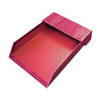 "Aurora - Proformance Letter Tray, Crocodile Pattern, Red, With Roof - Letter tray keeps papers organized and off your desk. Crocodile pattern adds a touch of elegance. Made from sturdy recycled paperboard. With Roof. Holds Paper Size: Letter; Width: 9 5/8""."