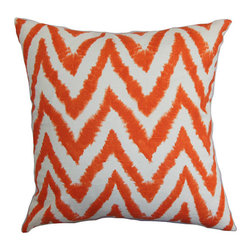The Pillow Collection - Kingspear Orange 18 x 18 Zigzag Throw Pillow - - Pillows have hidden zippers for easy removal and cleaning  - Reversible pillow with same fabric on both sides  - Comes standard with a 5/95 feather blend pillow insert  - All four sides have a clean knife-edge finish  - Pillow insert is 19 x 19 to ensure a tight and generous fit  - Cover and insert made in the USA  - Spot clean and Dry cleaning recommended  - Fill Material: 5/95 down feather blend The Pillow Collection - P18-PP-DIVA-TANGELO-C100
