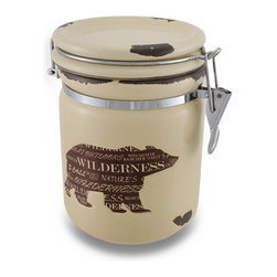 Zeckos - Wild Bear Silhouette Distressed Finish Airtight Ceramic Storage Jar - Perfect for storing small snacks, sugar, coffee, tea, or just to use as a decorative accent, this ceramic jar features a brown bear silhouette with various words of the wilderness and distressed accents. This decorative 7 inch high, 5 inch diameter (18 x 13 cm) canister has an airtight metal bail and silicone seal to help keep your items fresh, and looks amazing whether on the counter, the coffee bar or a shelf, and is great as a container to gift those tasty homemade delicacies