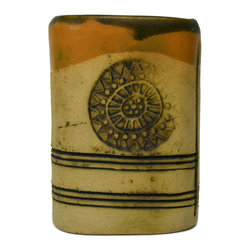 Lavish Shoestring - Consigned Small Buff Coloured Ceramic Vase - This is a vintage one-of-a-kind item.
