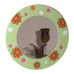 Danya B - Floral Round Mirror - Floral print. Wood frame. 12 in. W x 12 in. H (1.15 lbs.)