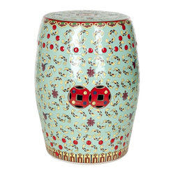 Safavieh - Santorini Garden Stool - Inspired by a traditional silk embroidery motif, the pattern of our Santorini garden stool print is authentically colored in celadon green with accents of red in faux nail heads and double prosperity coins. Use this multi-purpose, lustrous ceramic piece as a perch or plant stand inside or outside the home.