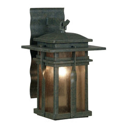 Kenroy - Kenroy 91902RST Carrington Traditional Outdoor Medium Wall Sconce - The Carrington wall lanterns are a modern culmination of a classic wrought iron look that applies contemporary design to a familiar fixture of exterior lighting.  Amber and Frosted White glass pair beautifully with Rust and Black housings.