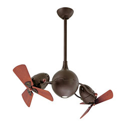 """Matthews Fan Company - 39"""" Acqua Textured Bronze Dual Head Rotational Ceiling Fan - This sophisticated rotational ceiling fan features mahogany finished wood blades. Designed to resemble the molecular structure of water, the Acqua ceiling fan offers a fabulous retro look. This type of rotational fan circulates air more efficiently than traditional paddle fans. Increase the speed of axial rotation simply by increasing the angle of the fan heads up to 180 degrees. Comes in textured bronze finish with mahogany wood finish blades. Includes remote control and integrated halogen downlight. Includes 10"""" downrod; other sizes available upon request. (IMAP)"""