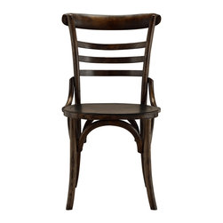Clara Bistro Side Chair - Made with sunny side streets in mind, brighten your table with a pair of our Bistro chairs or mix things up by adding one of each unique design to your table. Handcrafted of solid elm wood, each chair offers a slight variation of curves or crosses in its silhouette. Celine, Clara and Kira are all finished in our warm Aged Brown.