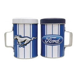 Westland - 4 Inch Ford Mustang Tin Salt and Pepper Shakers, Blue and White Stripe - This gorgeous 4 Inch Ford Mustang Tin Salt and Pepper Shakers, Blue and White Stripe has the finest details and highest quality you will find anywhere! 4 Inch Ford Mustang Tin Salt and Pepper Shakers, Blue and White Stripe is truly remarkable.