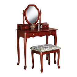 "Adarn Inc - Traditional Cherry Vanity Set Swivel Mirror Make Up Table Dresser Fabric Seat - This sophisticated vanity set will be a wonderful addition to your traditional master bedroom or dressing area. Create a calming place to dress with this vanity, featuring a generous top surface with two small drawers for small essentials, and a lower drawer for additional storage of make-up and hair care products. A lovely shield shaped swivel mirror is attached, adding light and depth to your room, while helping you get ready for your day. A pretty shaped apron and elegant cabriole legs complete this vanity, all in a warm Cherry finish, accented with simple gold tone metal knobs. The matching stool has the same elegant cabriole legs, and a soft tapestry fabric covered seat for a regal look and feel. Add this sophisticated vanity set to your home to create an inviting look that you will truly love.Vanity:30.25""W x 15.5""D x 48""h;   Stool:19""W x 15""D x 17.25""H"