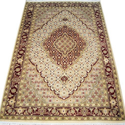 "ALRUG - Handmade Beige Persian Tabriz Rug 4' 1"" x 6' 2"" (ft) - This Pakistani Tabriz design rug is hand-knotted with Wool on Cotton."