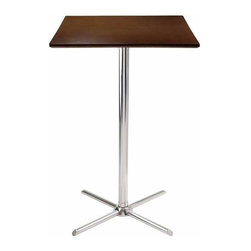 Winsome - Winsome Kallie Cappuccino Square Pub Table with Metal X-Base - Winsome - Pub Tables - 93534 - Kallie Square Pub Table is perfect additional for your kitchen or game room.