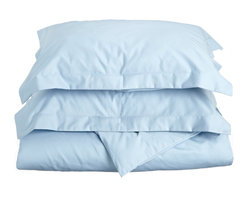 600 Thread Count Cotton Rich King/Cal-King Light Blue Duvet Cover Set - Cotton Rich 600 Thread Count King/Cal-King Light Blue Duvet Cover Set