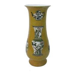 Golden Lotus - Chinese Yellow Color Vases & Pots Graphic Porcelain Vase - This yellow color vase is made of porcelain and painted with vases and pots graphic. It is an elegant piece for decoration or collection.