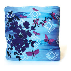 koi Design - Diamond Ice Pillow Throw - Cozy up with a luxurious throw blanket in the evenings, and fold it up into a gorgeous throw pillow during the day! This beautiful dip-dyed turquoise and indigo throw sprinkled with a delicate diamond pattern will certainly look graceful draped across your bed, couch, or shoulders. But when you don't need a blanket, viola! it becomes a pillow embroidered with blossoms, butterflies and dragonflies.