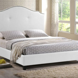Onyx Modern Marsha Scalloped White Modern Bed with Upholstered Headboard, Queen