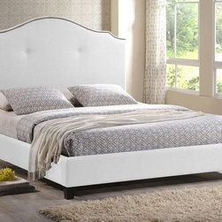 Onyx Modern Marsha Scalloped White Modern Bed with Upholstered Headboard, Queen - We love the white upholstery and beautiful scalloped shape of this large headbaord.