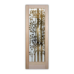 "Forest Trees Etched Glass Front Doors - Glass Entry Doors Sandblast Frosted Glas - Glass Front Doors, Entry Doors that Make a Statement! Your front door is your home's initial focal point and glass doors by Sans Soucie with frosted, etched glass designs create a unique, custom effect while providing privacy AND light thru exquisite, quality designs!  Available any size, all glass front doors are custom made to order and ship worldwide at reasonable prices.  Exterior entry door glass will be tempered, dual pane (an equally efficient single 1/2"" thick pane is used in our fiberglass doors).  Selling both the glass inserts for front doors as well as entry doors with glass, Sans Soucie art glass doors are available in 8 woods and Plastpro fiberglass in both smooth surface or a grain texture, as a slab door or prehung in the jamb - any size.   From simple frosted glass effects to our more extravagant 3D sculpture carved, painted and stained glass .. and everything in between, Sans Soucie designs are sandblasted different ways creating not only different effects, but different price levels.   The ""same design, done different"" - with no limit to design, there's something for every decor, any style.  The privacy you need is created without sacrificing sunlight!  Price will vary by design complexity and type of effect:  Specialty Glass and Frosted Glass.  Inside our fun, easy to use online Glass and Entry Door Designer, you'll get instant pricing on everything as YOU customize your door and glass!  When you're all finished designing, you can place your order online!   We're here to answer any questions you have so please call (877) 331-339 to speak to a knowledgeable representative!   Doors ship worldwide at reasonable prices from Palm Desert, California with delivery time ranges between 3-8 weeks depending on door material and glass effect selected.  (Doug Fir or Fiberglass in Frosted Effects allow 3 weeks, Specialty Woods and Glass  [2D, 3D, Leaded] will require approx. 8 weeks)."