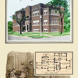 """Buyenlarge.com, Inc. - A Four-Apartment Two-Story Building- Gallery Wrapped Canvas Art 28"""" x 42"""" - American commercial rendering of various business buildings with floor plans and with some drawings of the milieu"""