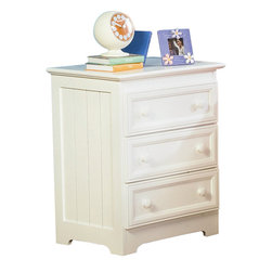 Atlantic Furniture - Atlantic Furniture Manhattan 3 Drawer Nightstand in White - Atlantic Furniture - Nightstands - C71302 - The Manhattan nightstand is a perfect example of casual country chic. The vertical slat detailing of the side panels creates both balance and visual interest, as do the recessed front panels of the nightstand's 3 practical storage drawers and their wooden knob style drawer pulls. With it's distinct contemporary cottage feel, it is sure to add to the character of any room.