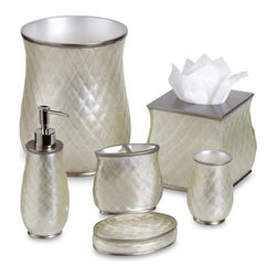 Nicole Miller Sparkle Bath Ensemble - I'd never thought of making my bathroom sparkle until I came across Nicole Miller's Sparkle bath ensemble. The accessories come in an almost pearl-like finish with a hint of — you guessed it — sparkle. They also have the trendy quilted finish.