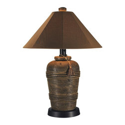 Patio Living Concepts - Canyon Outdoor Table Lamp Multicolor - 51910 - Shop for Lamps from Hayneedle.com! Dress up your outdoor living space with the Canyon Outdoor Table Lamp. Made with an artifact style design this lamp adds attractive illumination via a 2-level dimming switch and a single 100-watt bulb (bulb not included). It s completely weatherproof with an unbreakable polycarbonate waterproof cover. Comes complete with a 16-foot cord for easy placement.About Greenway Home ProductsGreenway Home Products is a diversified home products company that designs develops manufactures and markets an extensive line of residential appliances. The extensive line-up of products includes water dispensers water treatment accessories laundry racks solar fountains wine cabinets and electric fireplaces all of which incorporate cutting-edge design and technology. Designed and engineered in Canada all of Greenway's products are made with a strong commitment to design and innovation.