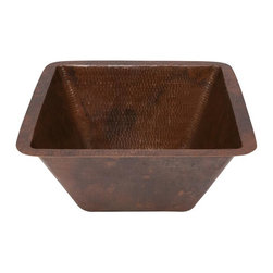 Premier Copper Products - 15 in. Square Under Counter Hammered Copper B - Configuration: Square. Design: Hammered Copper Surface. Color: Oil Rubbed Bronze. Inner Dimension 13 in. x 13 in. x 6 in.. Outer Dimension: 15 in. x 15 in. x 6 in.. Installation Type: Under Counter or Surface-Mount. Rim: 1 in. Flat Rim. Countertop Depth Minimum: 18 in. Front to Back. Material Gauge: (17 Gauge or .0450 in.). Drain Size: 1.5 in.. Drain not included. Faucet Mounting: Counter Deck Mount or Wall Mount. Hand Made. 100% Recyclable. Composition: 99.7% Pure Recycled Copper. Lead Free (less than .01%). Patina: Fired. Packaging: Recycled Cardboard Box. Warranty: Limited Lifetime. Care Instructions IncludedUncompromising quality, beauty, and functionality make up this Premier 15 in. Square Hammered Copper Bathroom Sink with a 1.5 in. Drain Opening. This bathroom sink has a 1 in. flat rim and can be Under Mounted or Surface Mounted. Green Recyclable Products like Copper Sinks are a must have in today's modern home. This product is sure to impress your guests and satisfaction is always guaranteed.