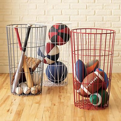 Kids Flea Market Wire Ball Bins - I'm not generally a fan of open storage, but these flea market–inspired ball bins are too good looking to ignore. Just make sure you buy cute basketballs, okay?