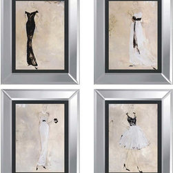 Paragon Decor - Colors of Night Set of 4 Artwork - Ladies are fashionably dressed for the evening in black and white attire.  Framed in beveled mirror frame.
